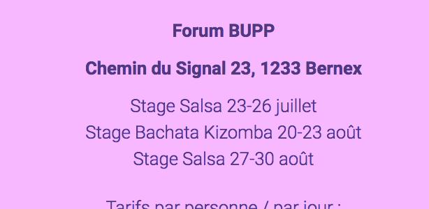 Bernex Forum BUPP Juillet & Août 2018