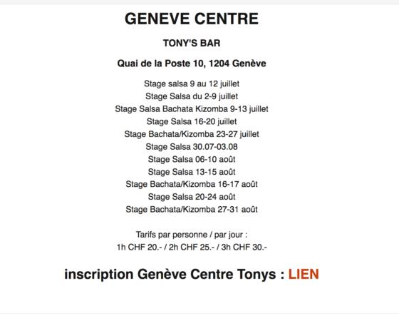 GENEVE CENTRE TONYS BAR  Planning Juillet / Août 2018