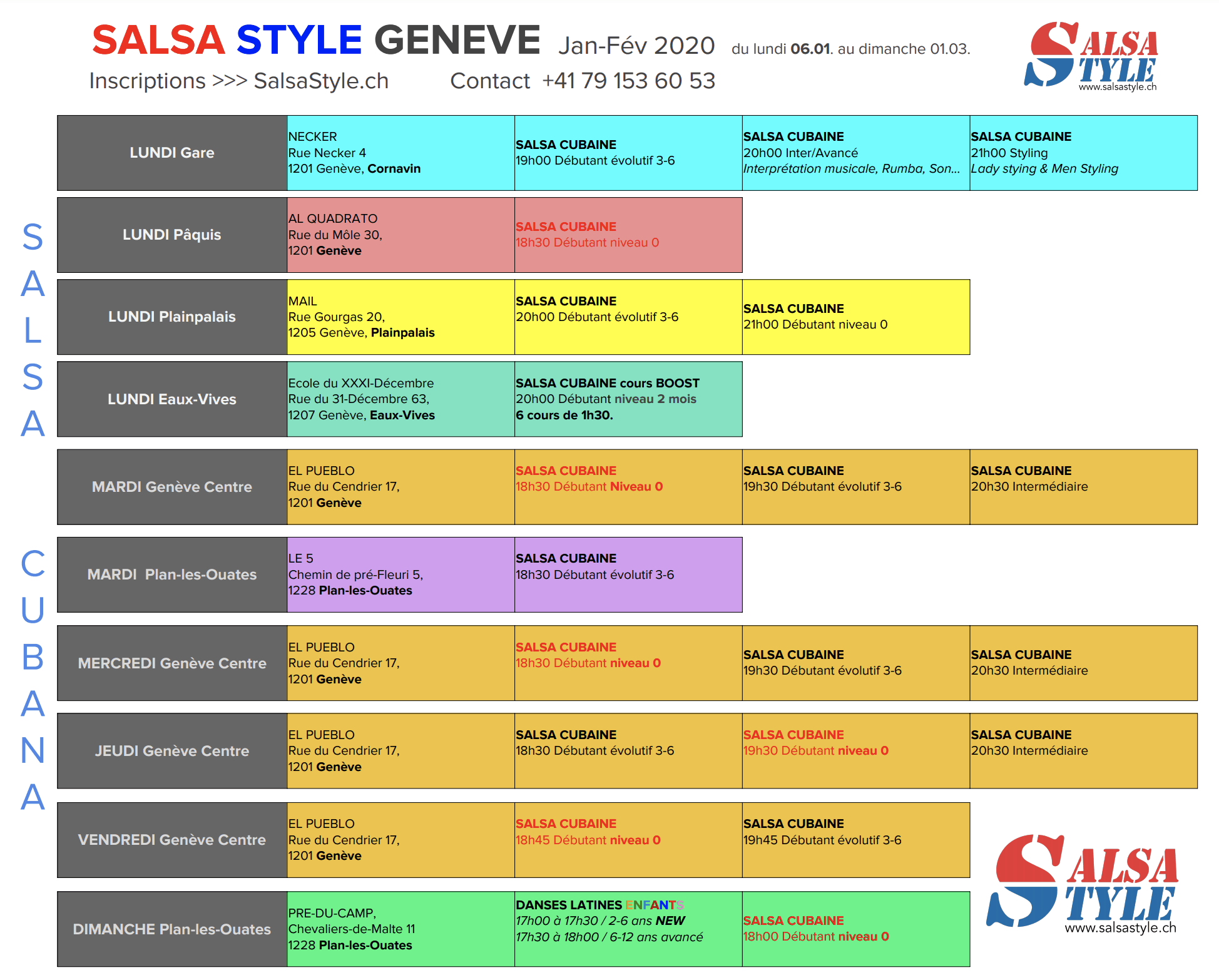 SalsaStyle Genève TABLEAU DES COURS SALSA JANVIER 2020 JPG
