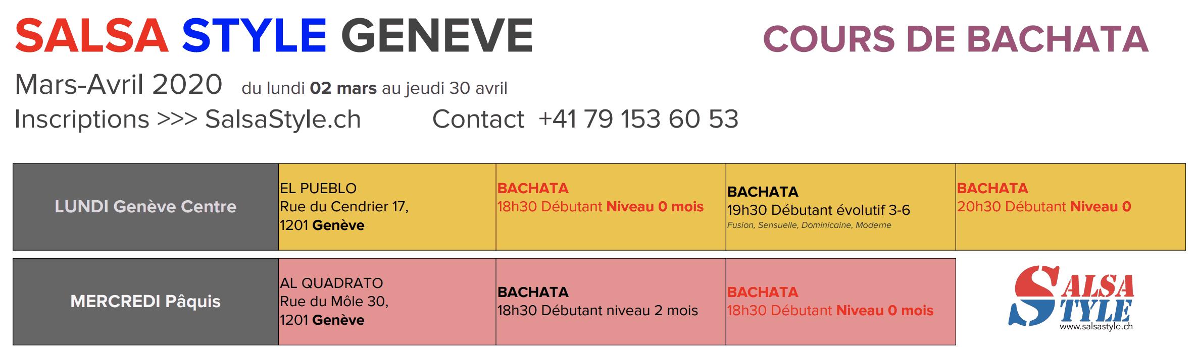 MARS 2020 Bachata à Genève www.SalsaStyle.ch