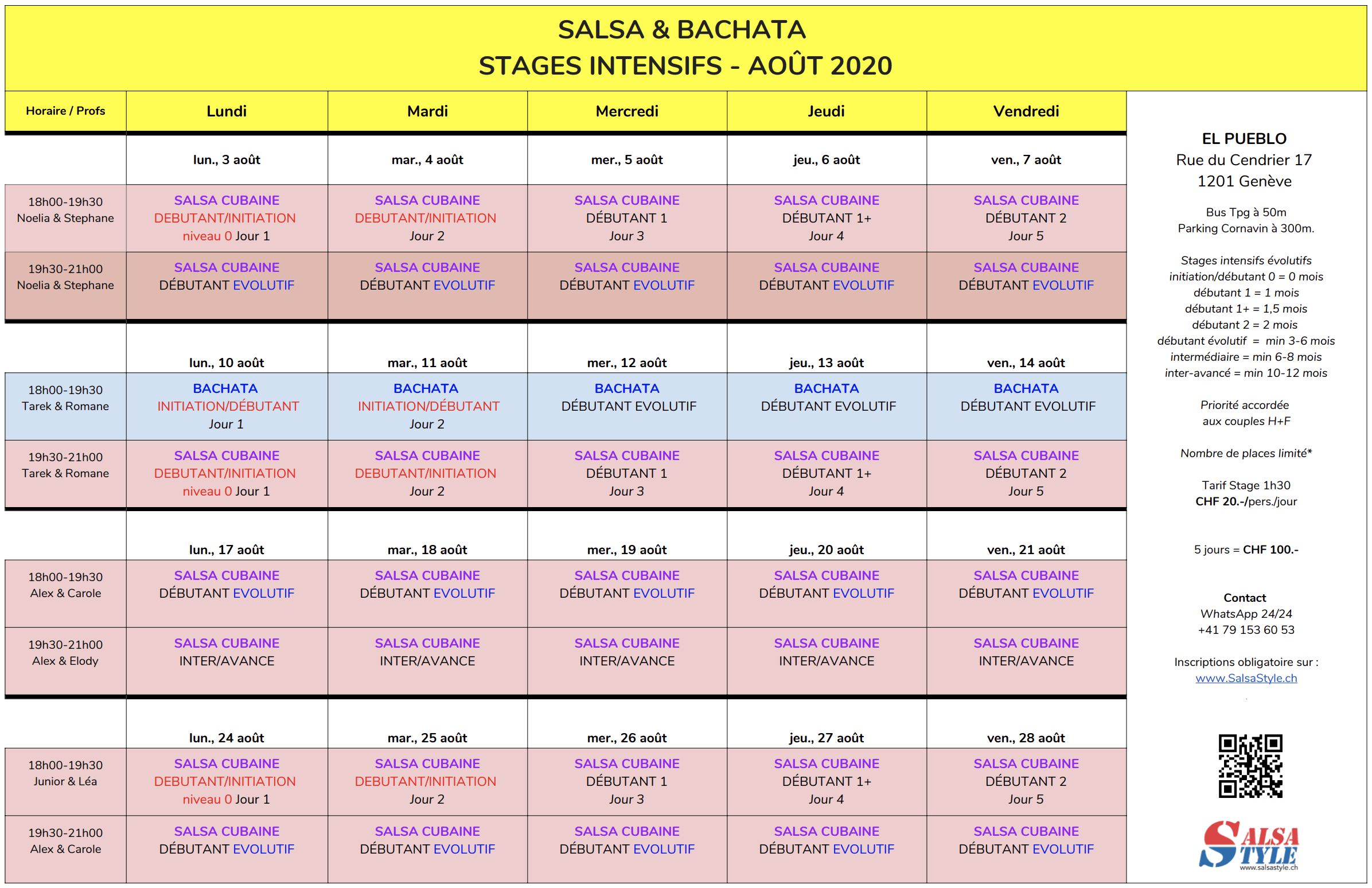 2020 Stage SALSA BACHATA AOUT 2020 SalsaStyle.ch